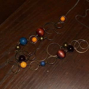 Jewelry - Vintage Boho Bead Circles Geo Statement Necklace